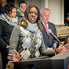 Acting President of the Afro-American Council, Terri Morris, of Chelmsford, helped organize the flag raising ceremony held at Lowell City Hall. SUN/Caley McGuane