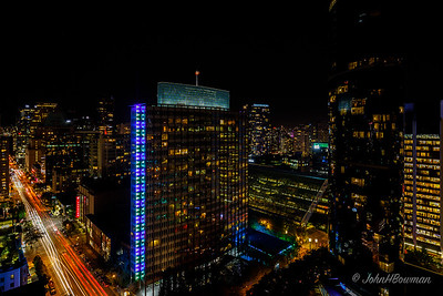 Vancouver Night Scene - from 27th floor, Century Plaza Hotel