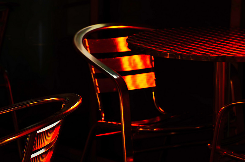 chrome, table, chairs, and neon
