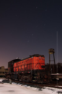 Ursa Major and an Alco - Central New England Railroad Alco RS-1 No 0670 rests in Scantic, CT as the Big Dipper spins overhead.  January 9, 2009
