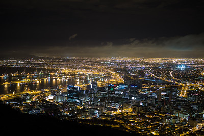 Cape Town City Lights, Harbour, City Bowl, Northern Suburbs and West Coast, from Signal Hill