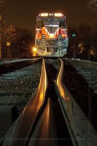 Switch Frog's-eye View - Providence & Worcester Railroad power rests outside Valley Falls, RI on the evening of March 14, 2009