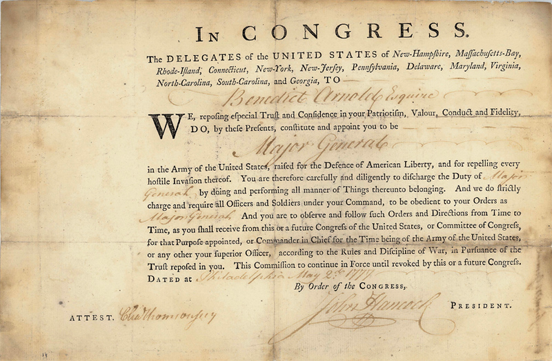 Arnold's Major General commission, dated 5/2/1777. Charles Thomson signed it as Secretary of the Continental Congress, and John Hancock signed as President. Congress had overlooked Arnold in promoting Brigadiers to Major General, causing him great resentment. After his gallant leadership at Ridgefield, Congress promoted him to the new rank, but the fact that he was now behind others in seniority still rankled Arnold.