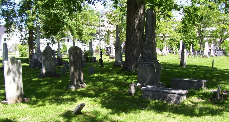 """Photo of the plot, as seen on the webpage:  <a href=""""http://canadianheadstones.com/nb/view.php?id=7963"""">http://canadianheadstones.com/nb/view.php?id=7963</a>        Phair's stone is just to the left of center in the mid-ground<br /> <br /> It gives the engraving on the stone as: <br /> """"Andrew Phair Esqr died the day of 9th november 1824 aged 67 years<br />  also Margaret his wife who died on the 27th of July 1833 in the 78th year of her age"""""""