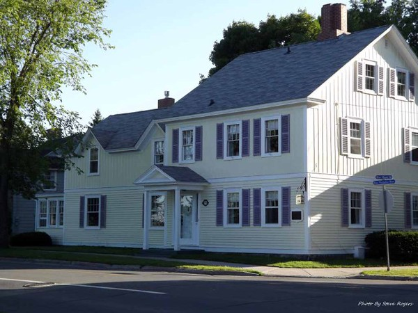 View of the house, now operating as a B&B. The bronze plaque is visible at the right corner of the front of the house.