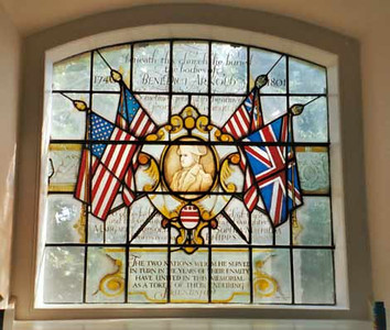 """From Find-a-Grave: Another modern addition, a commemorative stained-glass window.<br /> This $1600 window was donated in 1976 by Mr. Vincent Lindner of New Jersey, USA. He formed the Benedict Arnold Society to restore Arnold's reputation.  See page 2 of this link for more detail on Mr. Lindner: <a href=""""http://arnoldsmarch.com/newsletters/Issue%2039.pdf"""">http://arnoldsmarch.com/newsletters/Issue%2039.pdf</a>"""