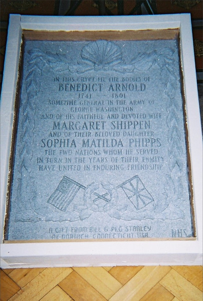 From Find-a-Grave: The granite replacement marker installed in 2004. The dates have been corrected, and Arnold's wife is now shown as Margaret Shippen.