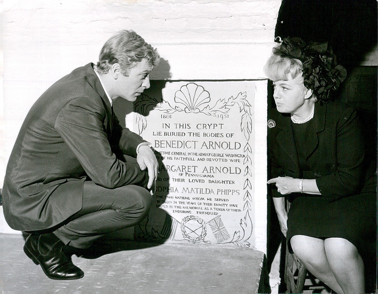 """This publicity photo was for sale on eBay in 2014. It shows Michael Caine and Shelley Winters posing at the original monument in the crypt of St. Mary's. Scenes from the 1966 movie """"Alfie"""" were shot at the church."""