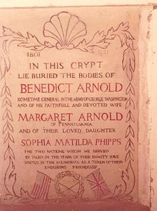 """From Find-a-Grave: The old marker in the crypt.<br /> The date of 1801 at the top is Arnold's year of death. I assume the faint 1951 indicates the year this memorial was installed. The late Bill Stanley, a Norwich, CT historian and Arnold enthusiast, led an effort to replace this marker with a granite one. It was dedicated in 2004. He felt the dates could be mistaken as indicating Arnold lived from 1801-1951. He also wanted to further identify """"Margaret Arnold"""" as Margaret """"Peggy Shippen"""" Arnold."""