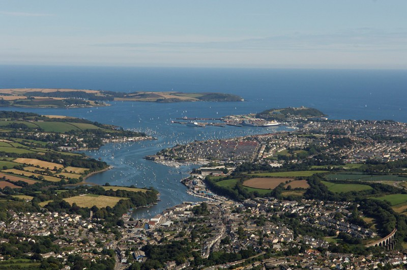 Aerial view of the port of Falmouth