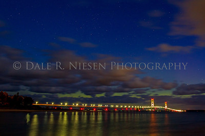 The Mackinac Bridge with the aurora low on the horizon taken at 6:45 AM on Ocober 8, 2012.