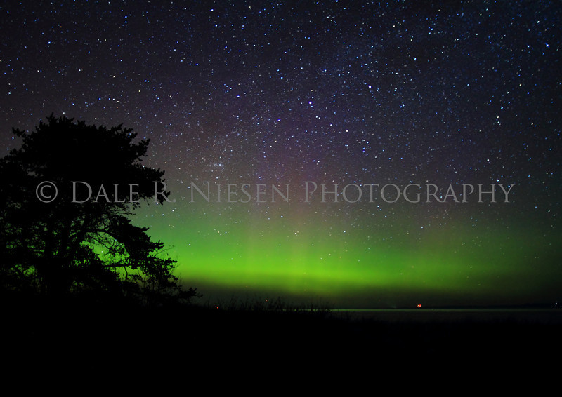 The Aurora Borealis/Northern Lights over Lake Superior at Whitefish Point taken in the early hours of 5/7/2013 near Paradise, Michigan.