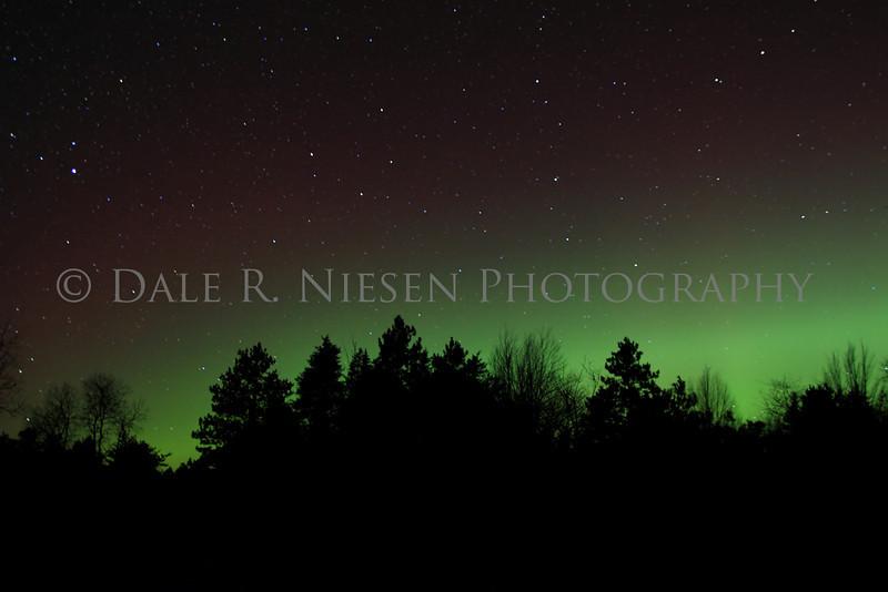 Aurora Borealis / Northern Lights captured near Grayling, Michigan on November 13, 2012