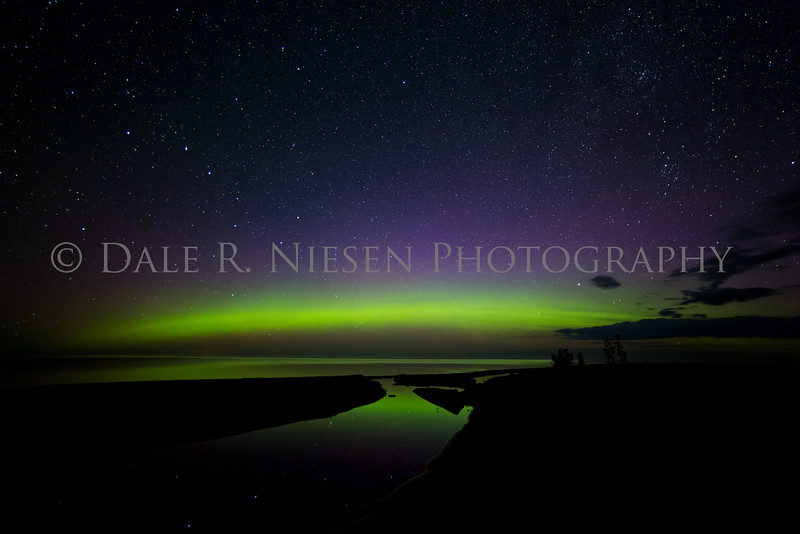 Northern Lights reflecting off of a stream and Lake Superior at Eagle River, Michigan, taken July 7, 2016 at 2:46 am