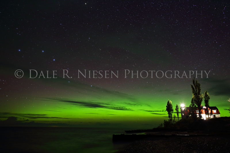 Point Betsie Lighthouse the Big Dipper and  Aurora Borealis near Frankfort, Benzie County, Michigan 9/8/2015