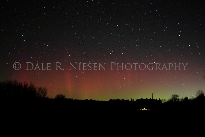 Aurora Borealis or Northern Lights captured near Clare, Michigan on November 13, 2012