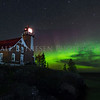 Eagle Harbor Lighthouse and the aurora taken on 10/12/2017 at 12:01 am, Eagle Harbor, Michigan