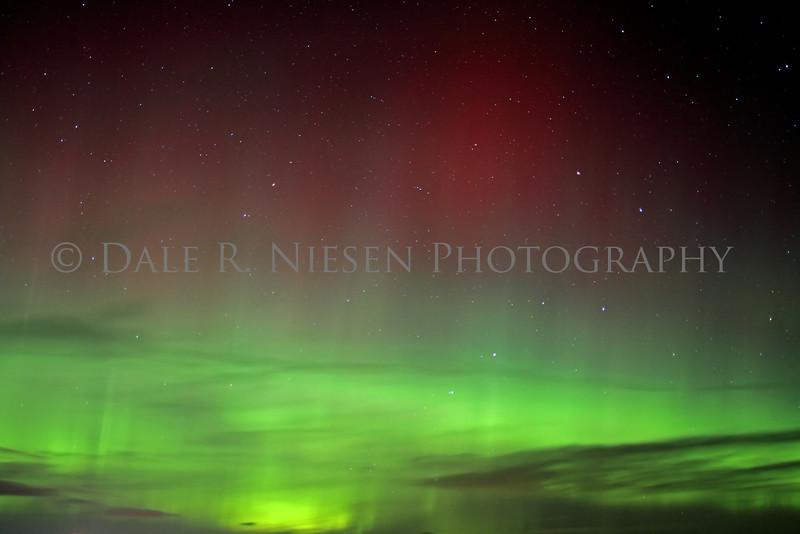 Aurora in the sky above the Straits of Mackinac, Mackinaw City, Michigan