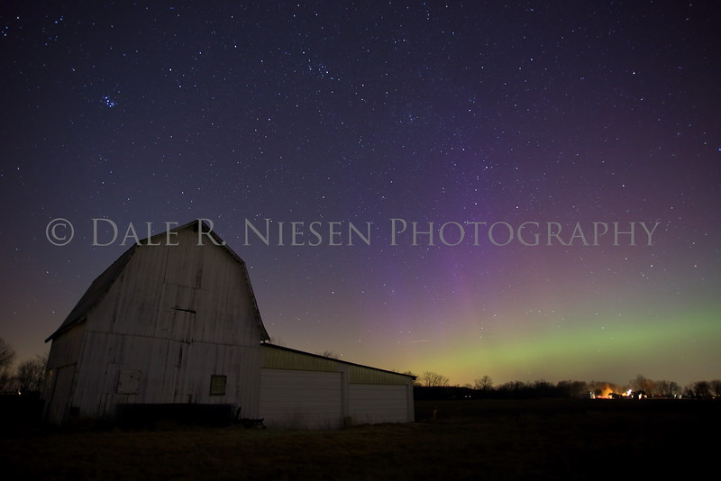 The Aurora Borealis over the farms of western Monroe County, Michigan near the town of Dundee on March 17, 2015.