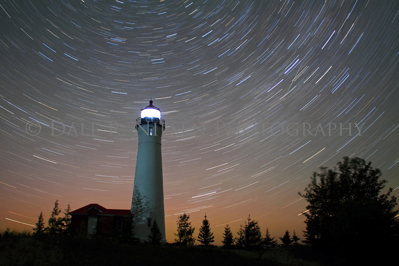 Star Trails and Aurora at Crisp Point Lighthouse on Lake Superior north of Newberry, Michigan