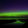 Northern Lights reflecting off of a stream and Lake Superior at Eagle River, Michigan, taken July 7, 2016 at 2:38 am