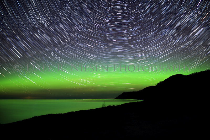 Sleeping Bear Star Trails & Aurora - Taken on May 8, 2016 just after midnight looking north from Esch Beach toward the Empire Bluffs in the Sleeping Bear Dunes National Lakeshore.