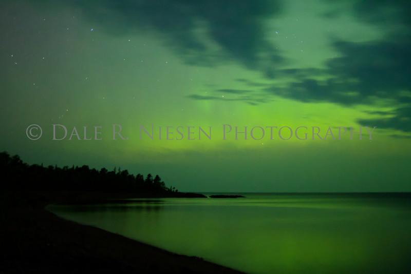 The aurora over  Lake Superior at Agate Beach, Copper Harbor, Michigan