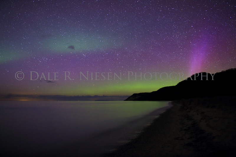 Sleeping Bear Aurora - Taken on May 7, 2016 at 10:37 pm looking north toward the Empire Bluffs in the Sleeping Bear Dunes National Lakeshore .