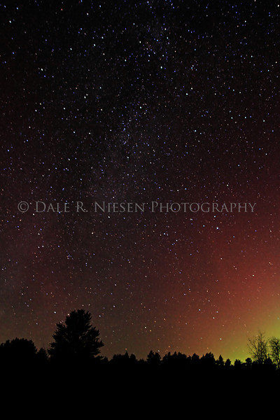 The Milky Way and Aurora Borealis captured near Grayling, Michigan on November 13, 2012