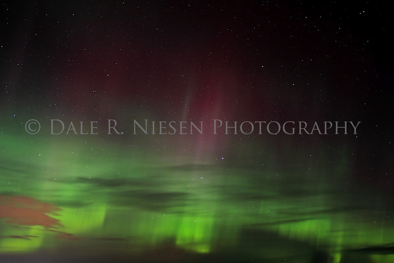 Northern Lights in the sky above the Straits of Mackinac, Mackinaw City, Michigan