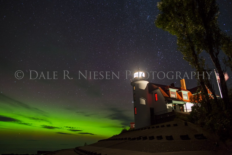 Point Betsie Lighthouse and the Aurora Borealis near Frankfort, Benzie County, Michigan 9/8/2015