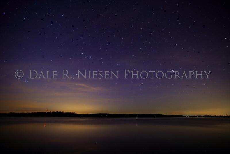 The aurora borealis over Fourmile Lake in the Chelsea State Game Area, Washtenaw County, Michigan
