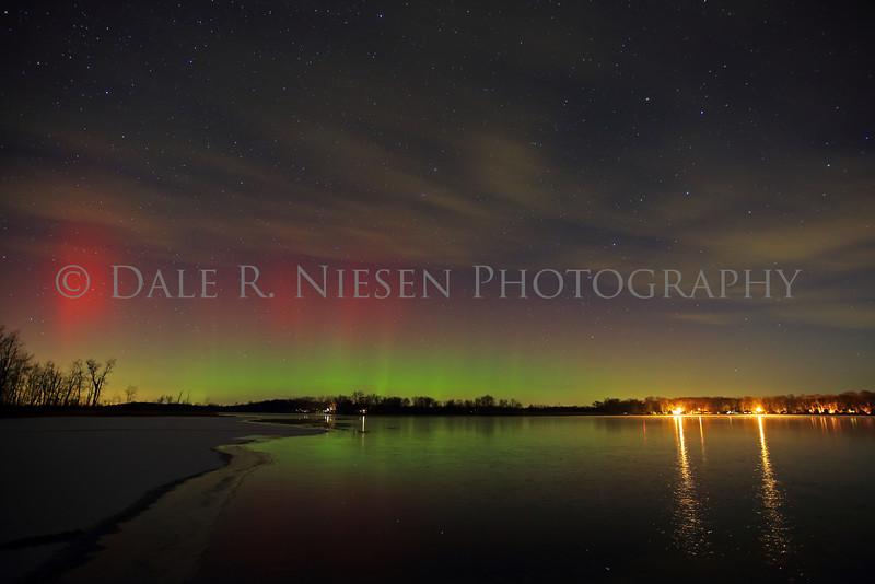 Aurora over Portage Lake, Jackson County, Michigan taken on the night of December 7/8, 2013.