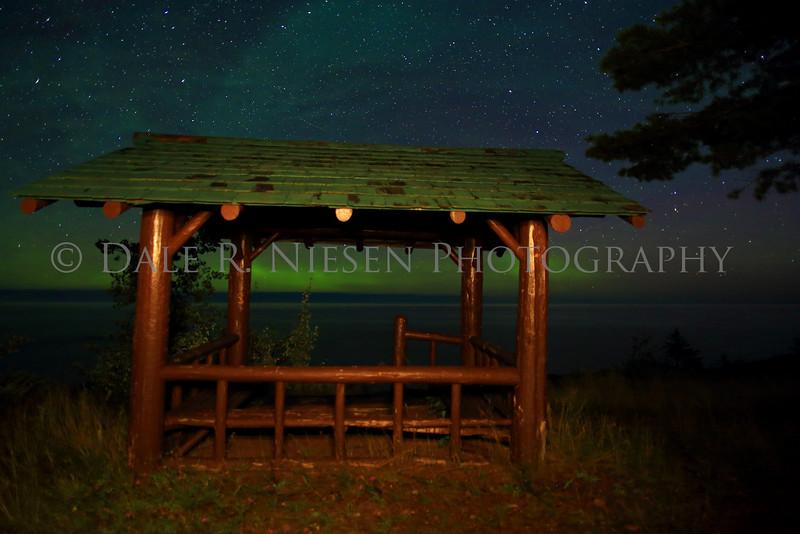 Picnic shelter and the aurora borealis at Hebard Park near Copper Harbor, Michigan. Taken August 31, 2014 at 4:52 AM.