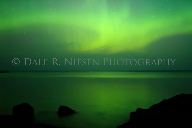 The aurora over  Lake Superior at Hunter's Point, Copper Harbor, Michigan