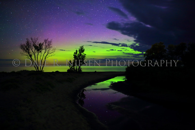 Northern Lights reflecting off of a stream and Lake Superior at Eagle River, Michigan, taken July 7, 2016 at 2:04 am
