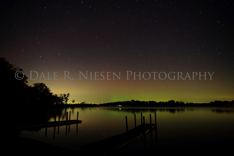 Aurora over Portage Lake, Jackson County, Michigan taken 10/8/2013