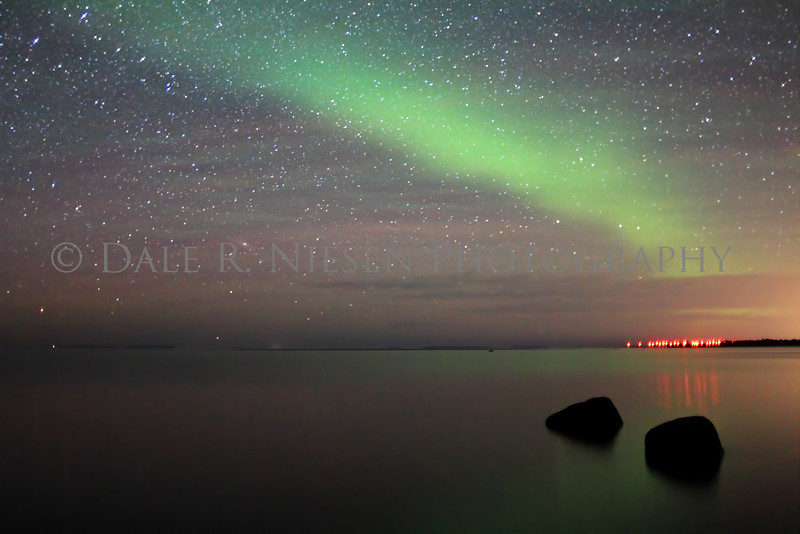 The Aurora Borealis plus green and red airglow taken on Lake Superior's Whitefish Bay, Chippewa County, Michigan 6/4/2013.
