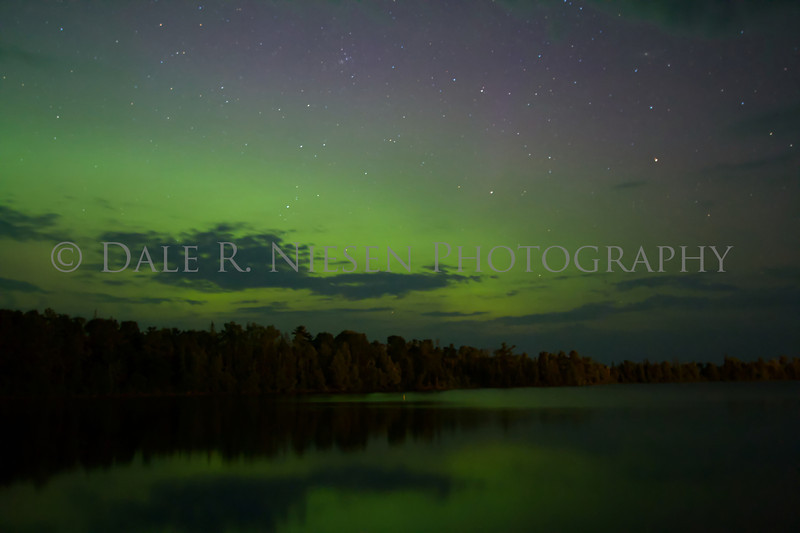 The aurora over Copper Harbor and Hunter's Point at Copper Harbor, Michigan