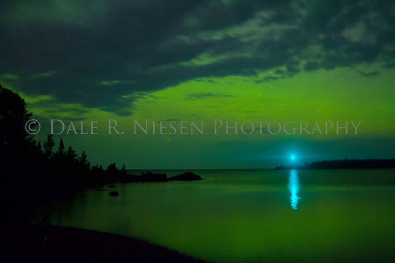 The Northern Lights over the Copper Harbor Lighthouse and beacon light, Copper Harbor, Michigan