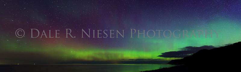 Sleeping Bear Aurora - Taken on May 8, 2016 at 1:39 am looking north toward the Empire Bluffs in the Sleeping Bear Dunes National Lakeshore.  This is a 5 image panoramic photograph.