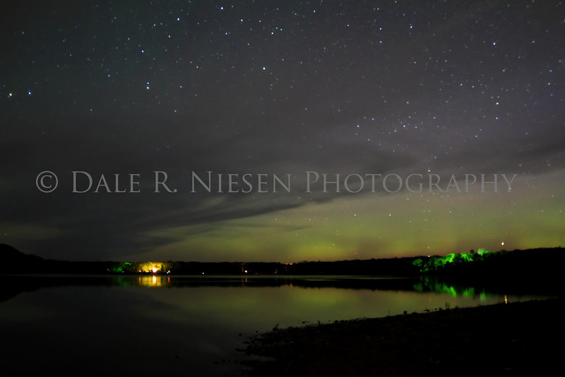 The aurora over Monocle Lake near Bay Mills, Michigan