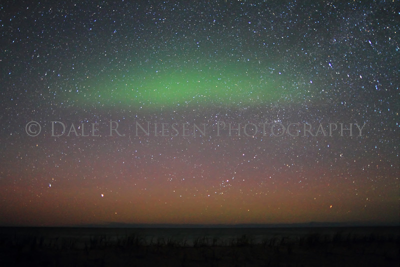 Northern lights taken from the shore of Lake Superior at Crisp Point north of Newberry, Michigan