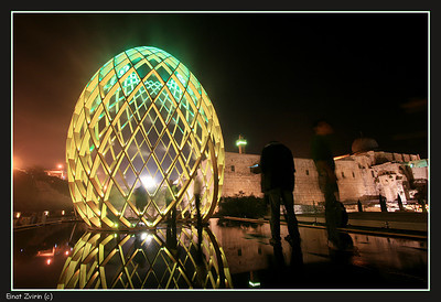 Aliens and EggShip (note the beheaded man) Jerusalem Light Festival