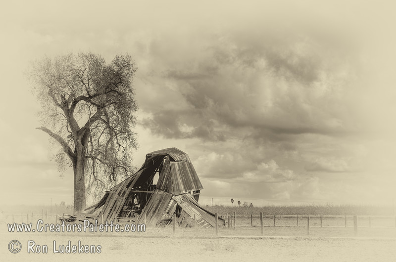 Big storm and wind last night and I was sure the barn would be gone this morning.  Drove by to check this afternoon and was pleased to see it still standing.