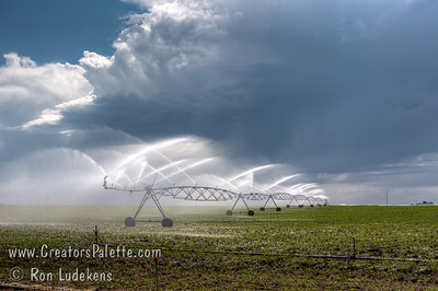 Late afternoon irrigation with thunderclouds forming in background. Near Jerome, Idaho.