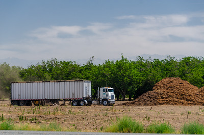 Hauling off ground pile of walnut trees, creating dust in the process. And using lots of diesel.