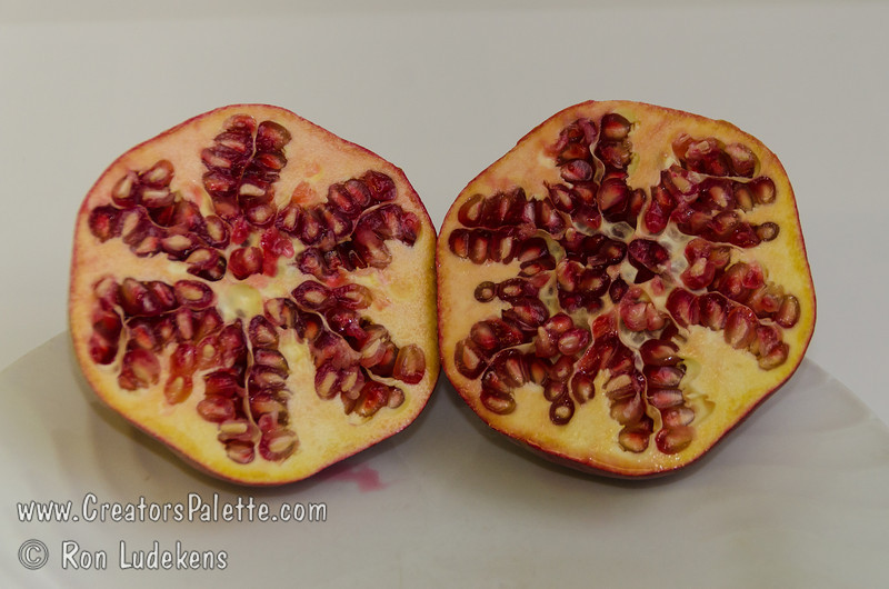Wonderful Pomegranate - Punica granatum<br /> Extra large.  Blushed red skin.  Flesh rich, red color, juicy, with sharp flavor.  Most well known of the pomegranates.  Shrub or tree to 18 ft.  Ripens: October. Drought tolerant.
