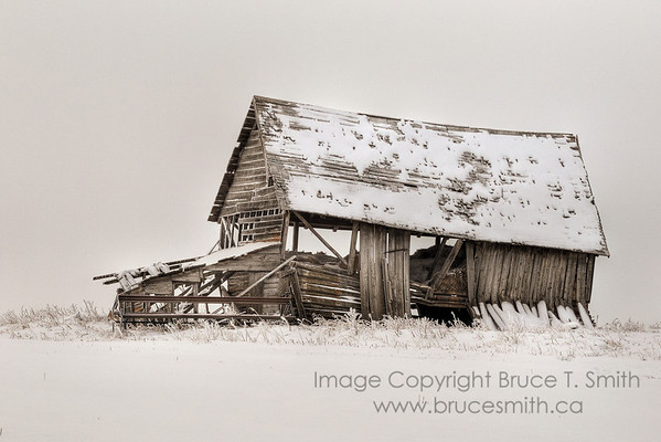 Abandoned farm building in the snow