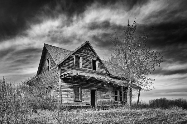 Abandoned farmhouse in the spring time